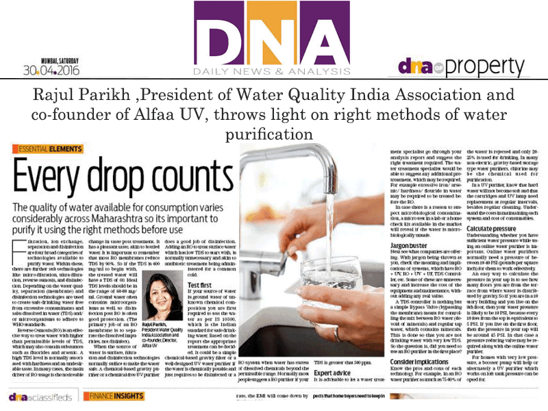 Rajul Parikh, President of Water Quality India Association and Co-founder of Alfaa UV , throws light on right methods of water purification