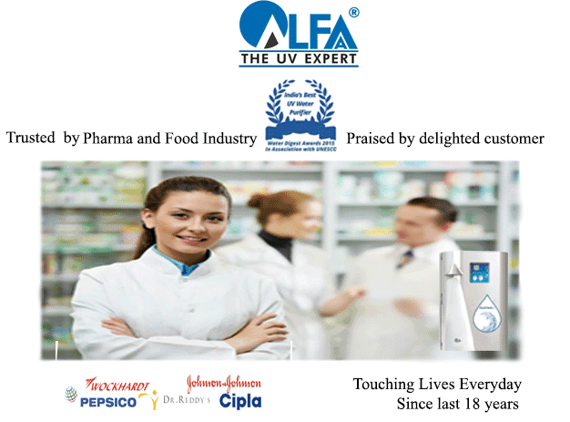 Alfaa UV offers The Best home water purifier, a brand trusted by Pharma and Food Industry and praised by delighted customers